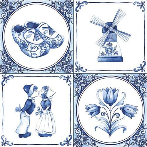 Holland - 4 Paper Napkins for Decoupage, 3-ply, 33 x 33cm (Pack of 4 Individual Napkins)