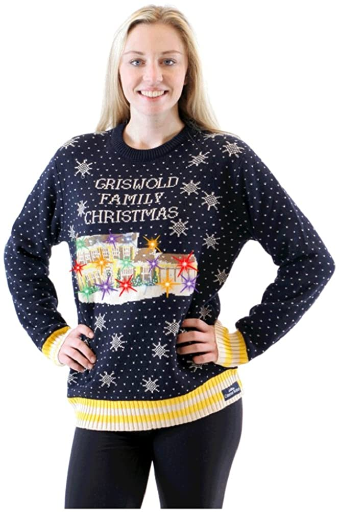 Griswold Christmas Vacation Light Up House Navy Ugly Sweater