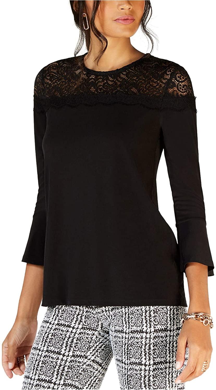 Michael Kors Womens Lace Yoke Pullover Blouse