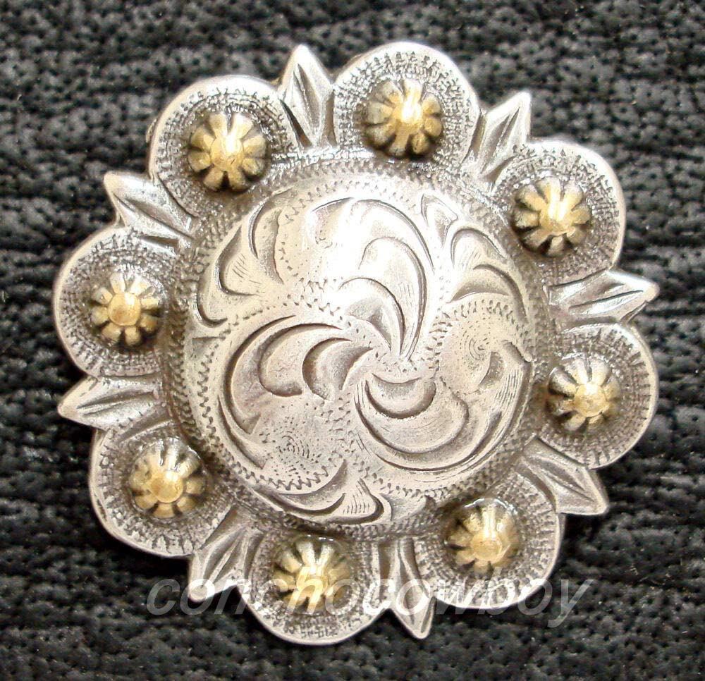 Conchos for Belt - Leather Fastener - Western Horse Saddle TACK Antique Gold Berry Concho 1-1/4