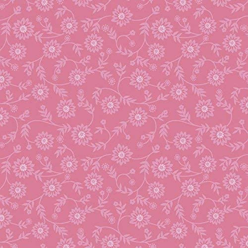 Ellen's Floral Rose Pink Cotton Fabric by The Yard