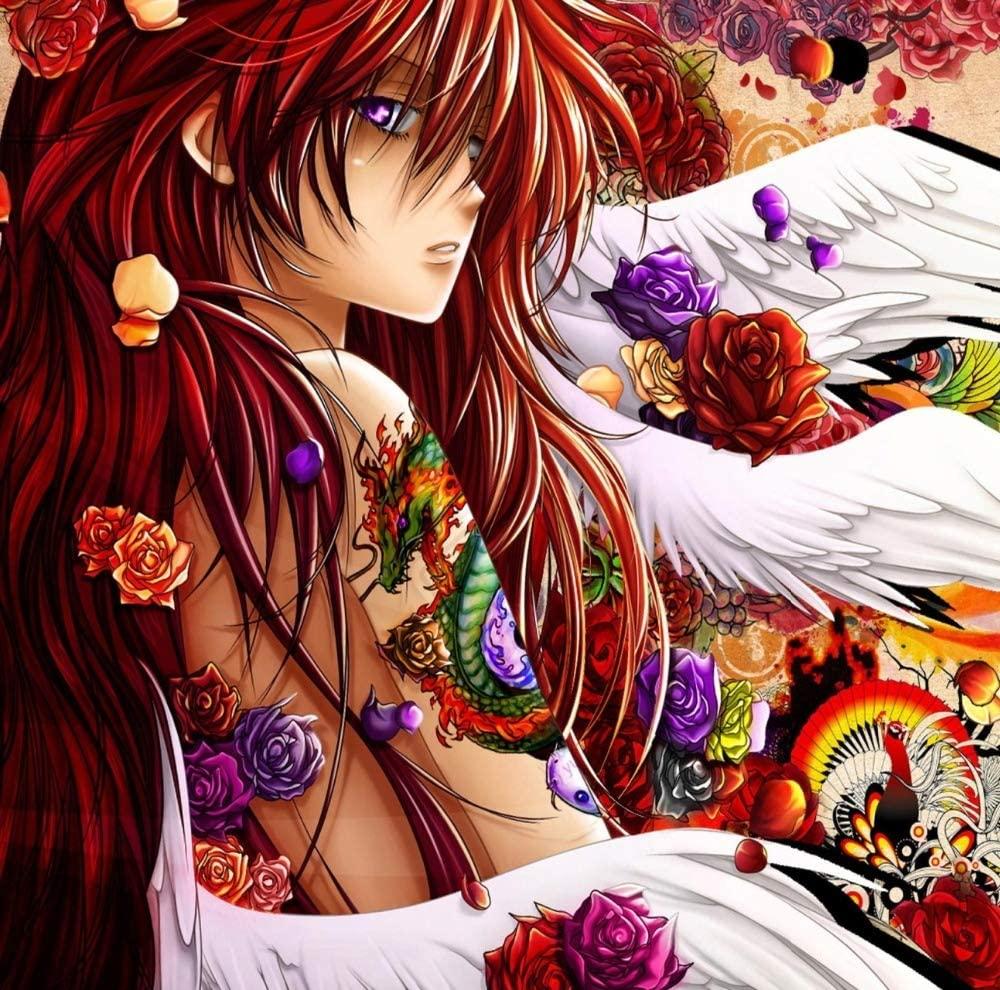 Zimal 5D DIY Diamond Painting Cartoon Tattooed Anime Girl Full Round Diamond Embroidery Diamond Mosaic Cross Stitch Decoration Gift 11.8 X 11.8 Inch