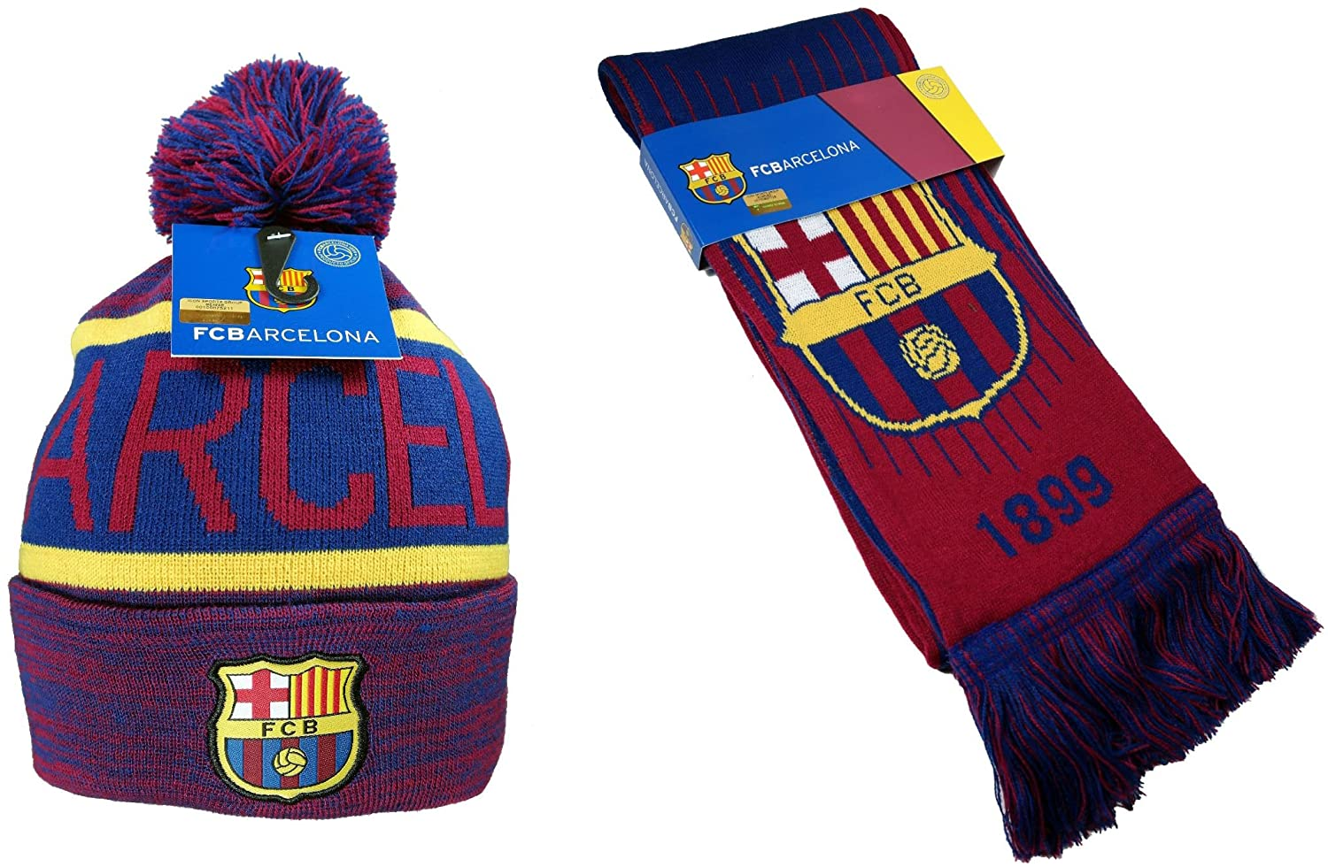 FC Barcelona Authentic Official Licensed Soccer Beanie & Scarf Combo - 03-5