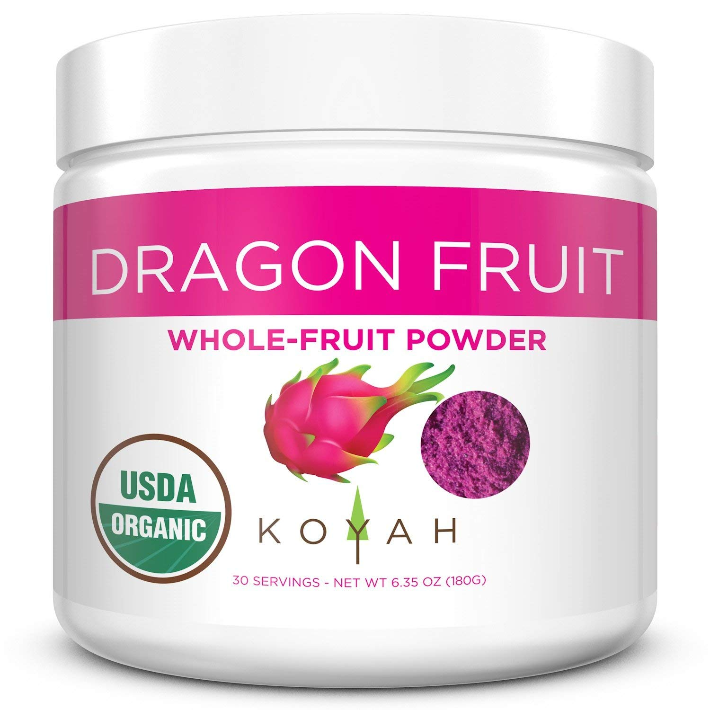 KOYAH - Organic Freeze-dried Pink Dragon Fruit Powder (1 Scoop = 1/4 Cup Fresh): 30 Servings (often called Pitaya), 180 g (6.35 oz)