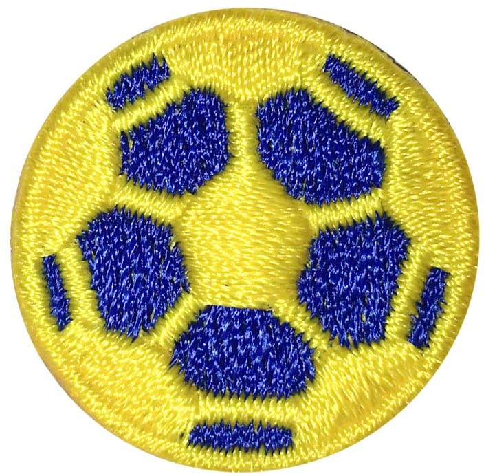Soccer Ball Patch Gold and Blue Iron-on 10-Pack, 1