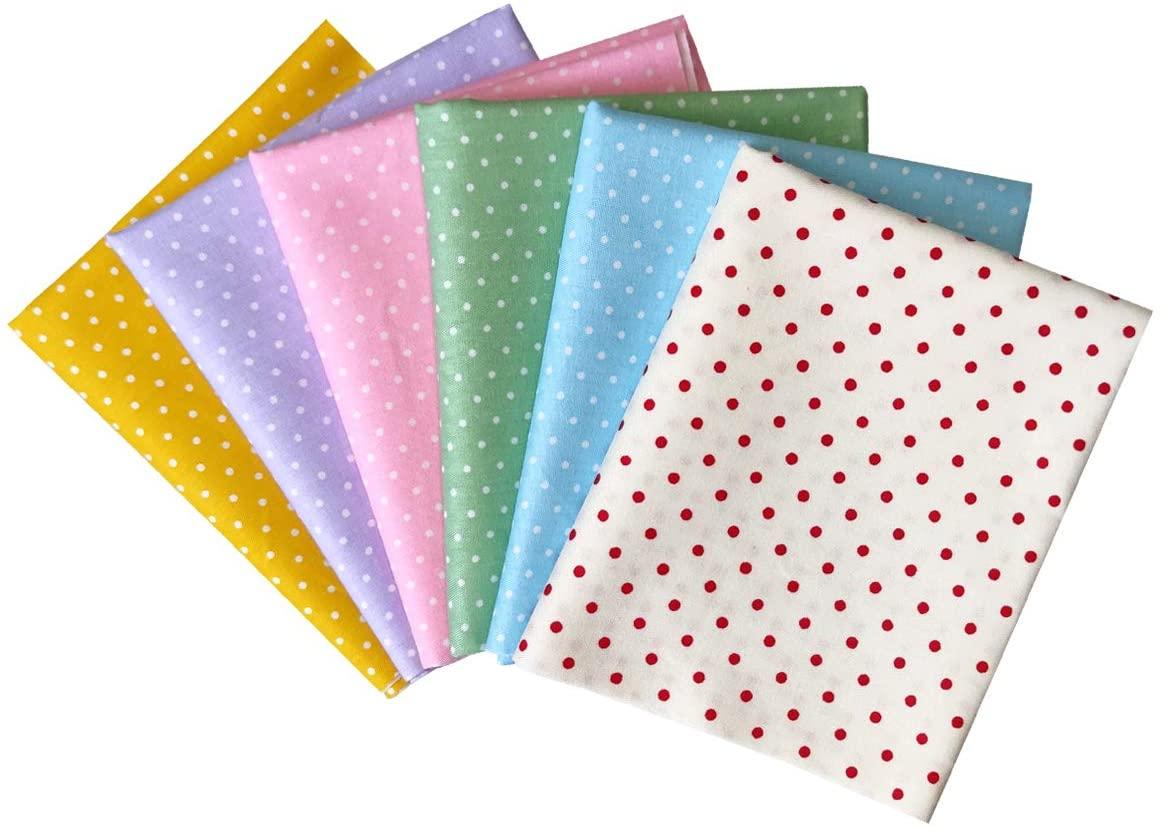 Gnognauq 6Pcs 100% Cotton Fabric Patchwork Bundles Fat Quarters for Handmade Sewing Bags DIY, 18 x 22 inches (Little Dot Design)