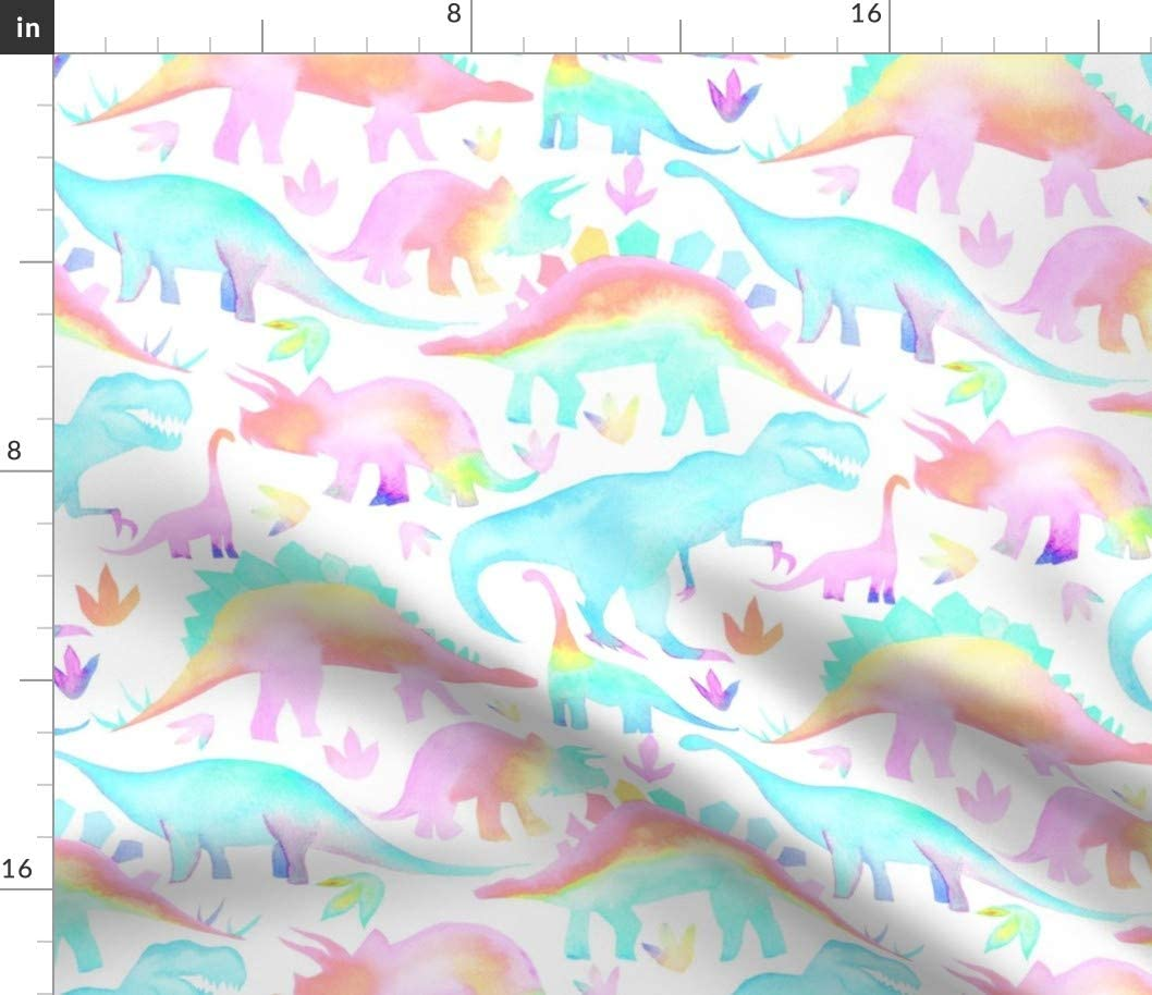 Spoonflower Fabric - Pastel Dinosaurs Rotated Rainbow Watercolor Dino Printed on Cotton Poplin Fabric by The Yard - Sewing Shirting Quilting Dresses Apparel Crafts