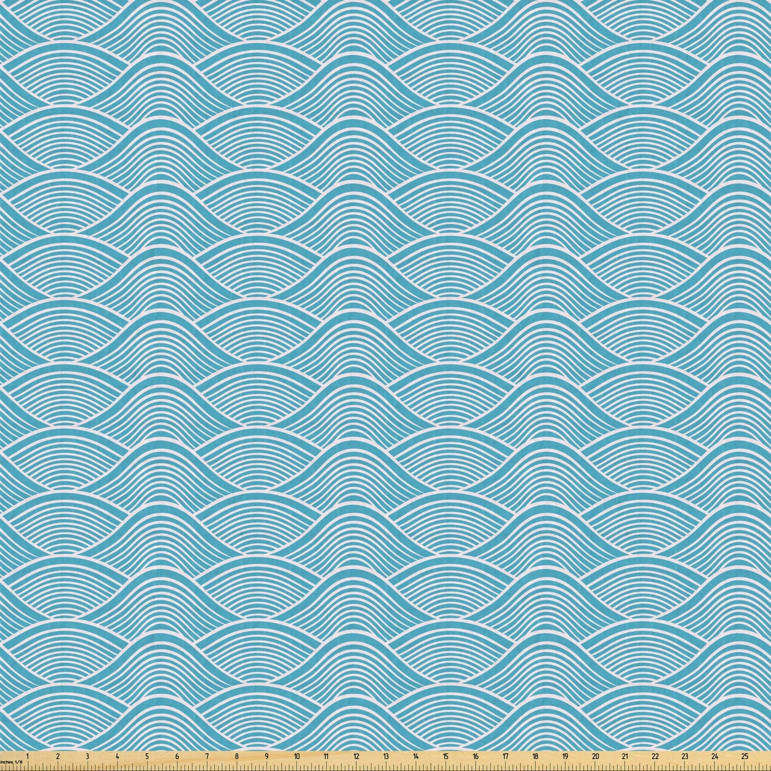 Ambesonne Blue Fabric by The Yard, Ocean Inspired Waves Pattern with Japanese Influences Nautical Maritime Aquatic, Stretch Knit Fabric for Clothing Sewing and Arts Crafts, 1 Yard, Sky Blue