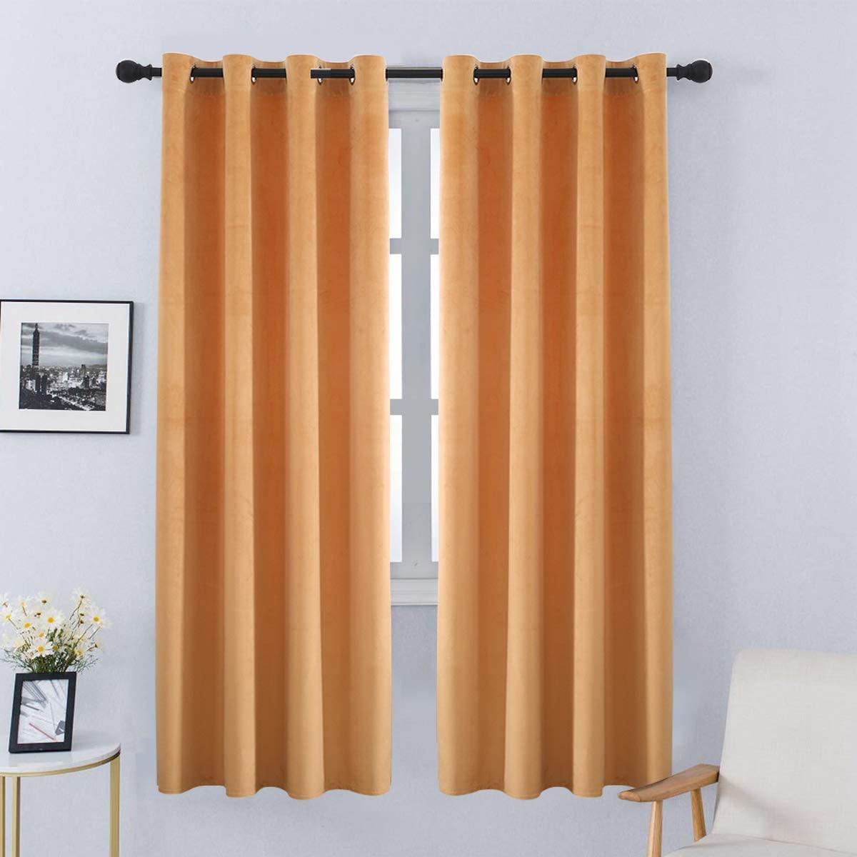 SPXTEX Orange Velvet Curtains 63 inches Length Soft Velvet Textured Curtains Velvet Thermal Curtains Window Treatment for Bedroom Light Filtering Velvet Curtain Panels Set of 2 Panels Orange