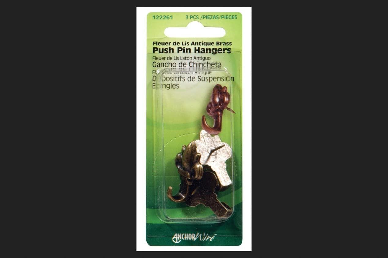 Hillman Push Pin Hangers Antique Brass Card
