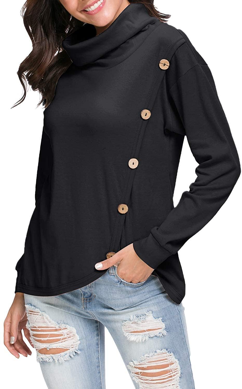 levaca Women's Loose Casual Cowl Neck Button Long Sleeve Split Tunic T Shirt Tops