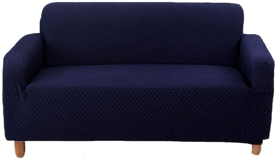 SUBCLUSTER Sofa Cover Couch Cover Fitted Spandex Sofa Protector Slip Resistant Sofa Cover High Elasticity Anti-Wrinkle Solid Color Couch Slipcover (Navy Blue, Three-Seater)