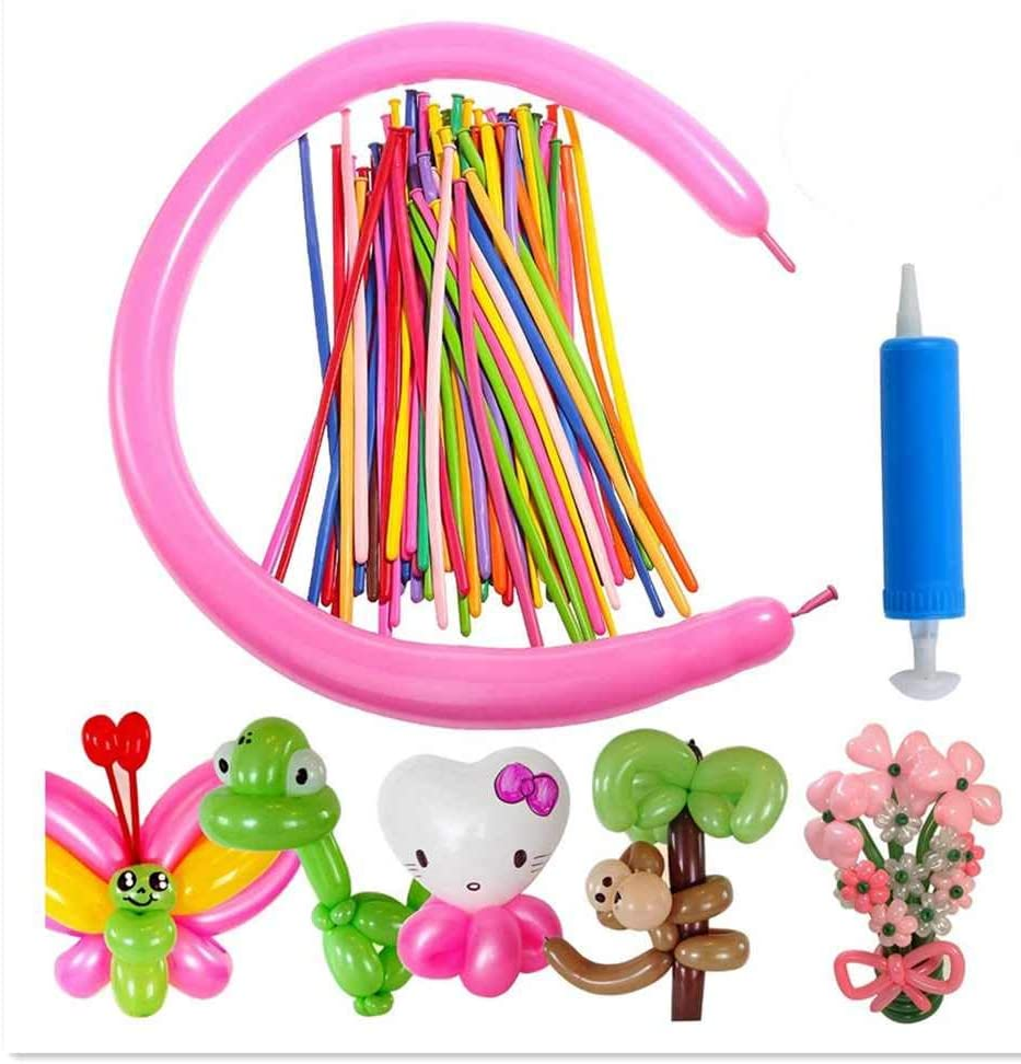 Latex Twisting Balloons, 260Q Animal Magic Long Balloons Assorted Color with Pump for Animal Shape Party, Clowns, Wedding Decoration Party Supplies