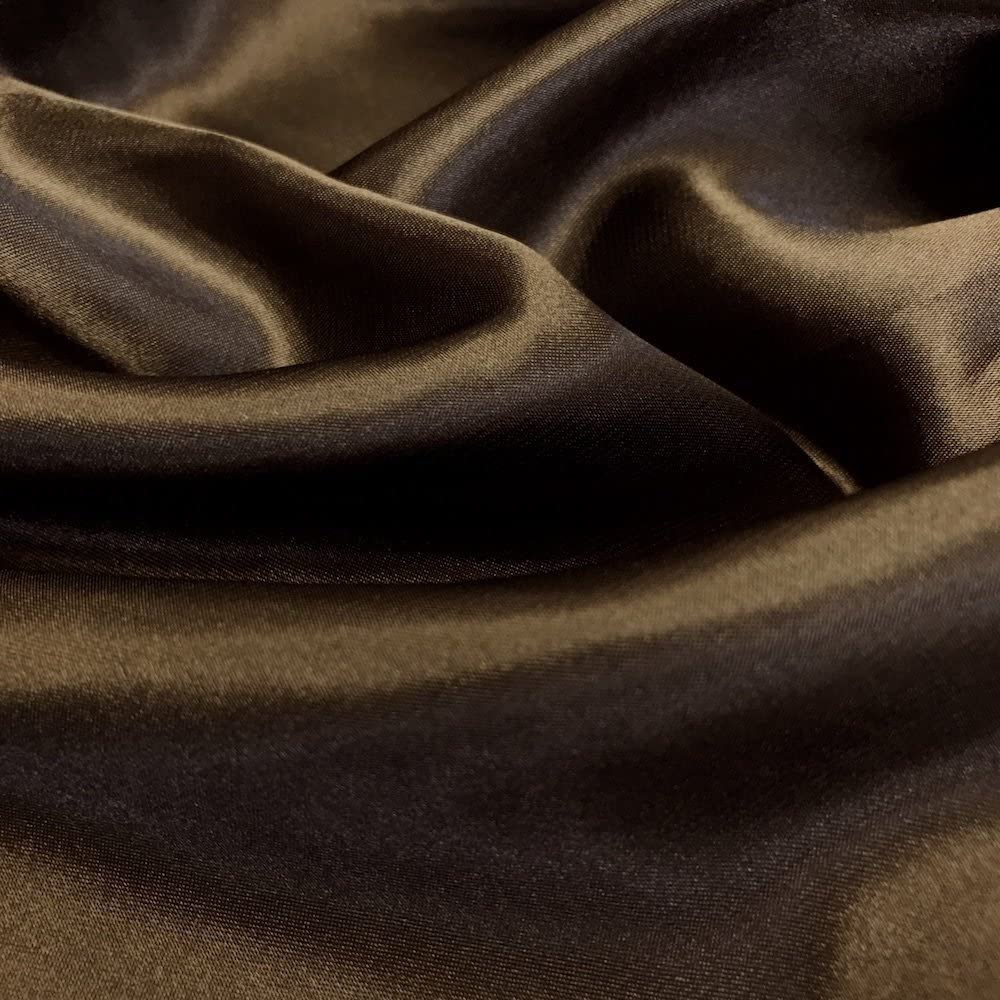 60 inches Wide - by The Yard - Charmeuse Bridal Satin Fabric for Wedding, Apparel, Crafts, Decor, Costumes (Brown, 1 Yard)