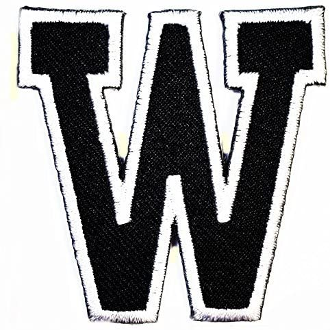 HHO Black letter W Patch English Alphabet Character Embroidered DIY Patches, Cute Applique Sew Iron on Kids Craft Patch for Bags Jackets Jeans Clothes