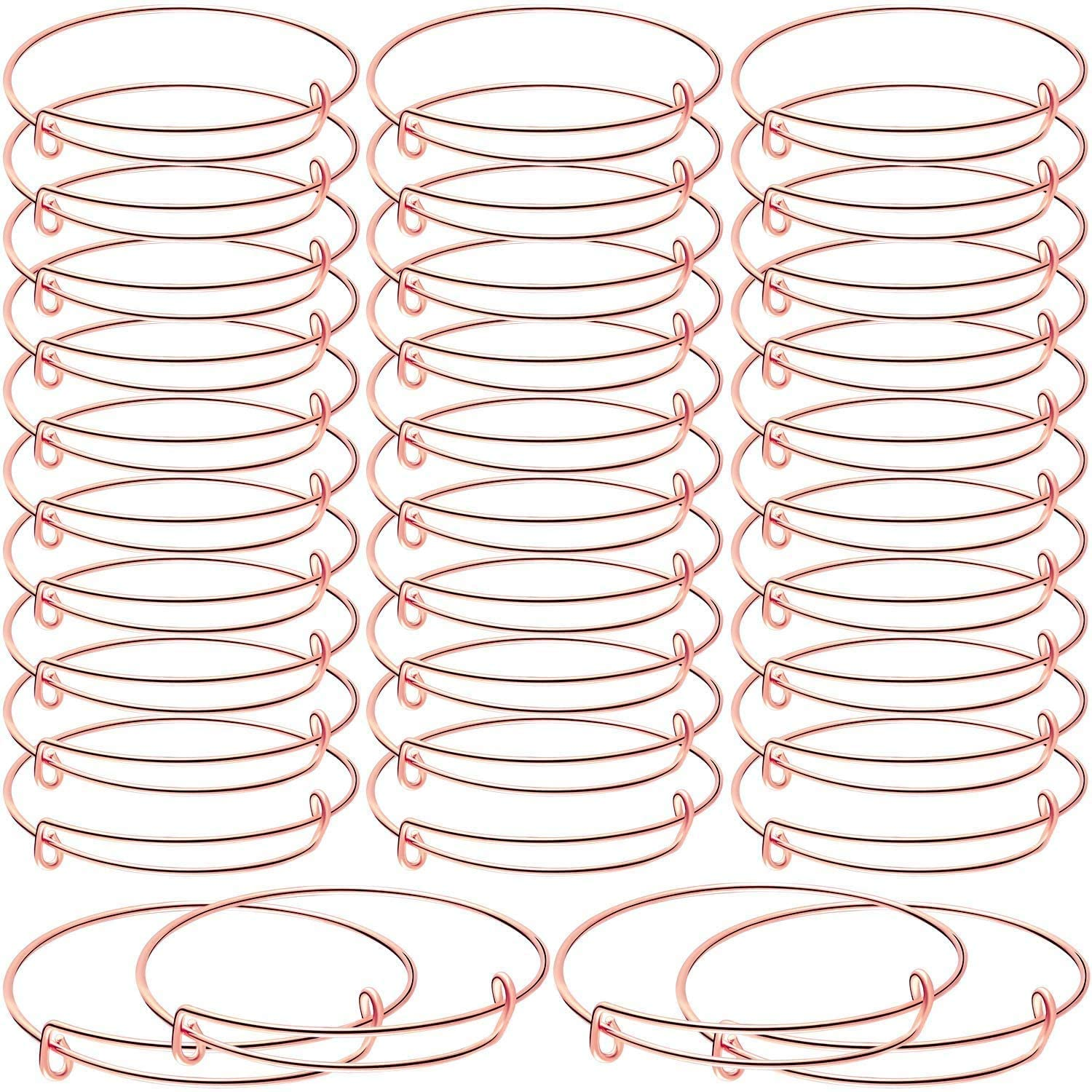 30 Pieces Expandable Bangle Bracelets Adjustable Wire Blank Bangles Metal Bracelets for DIY Jewelry (Rose Gold)