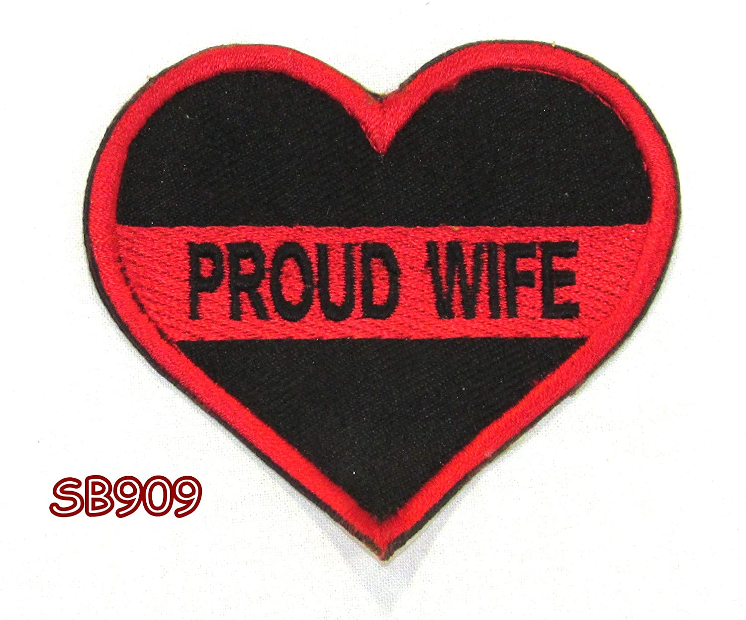 Proud Wife Heart Red on Black Iron On Sew On Small Patch for Jacket Vest