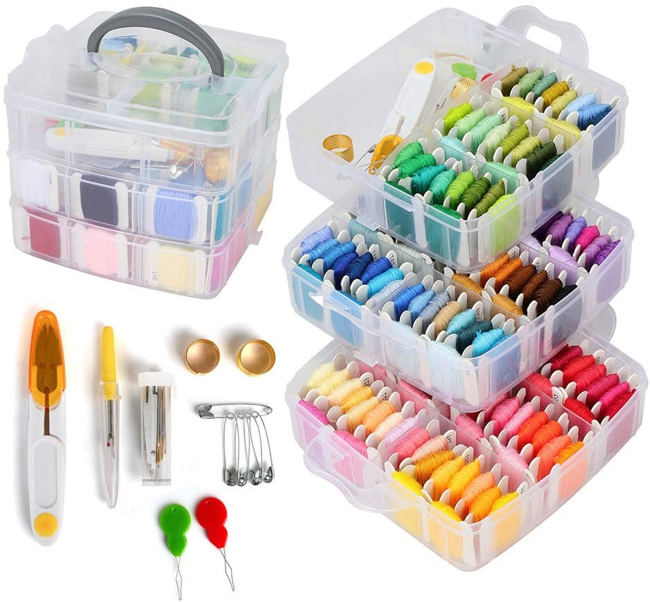 LQKYWNA 195PCS Embroidery Skeins Set Colorful Cross Stitch Sewing Thread Kit Three-Layer Boxed Knitting Tool for Bracelet Necklace DIY Hair Ring Project
