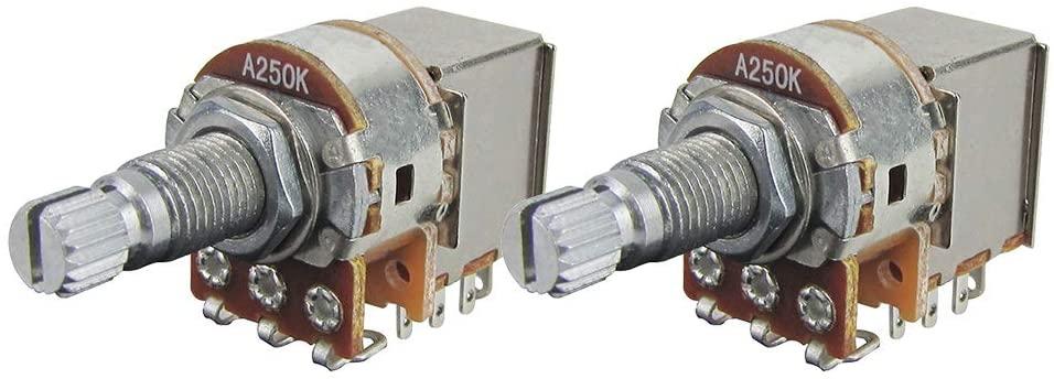 FLEOR 2pcs Push Pull Guitar Pots 18mm Split Shaft A250K Audio Taper Guitar Potentiometers