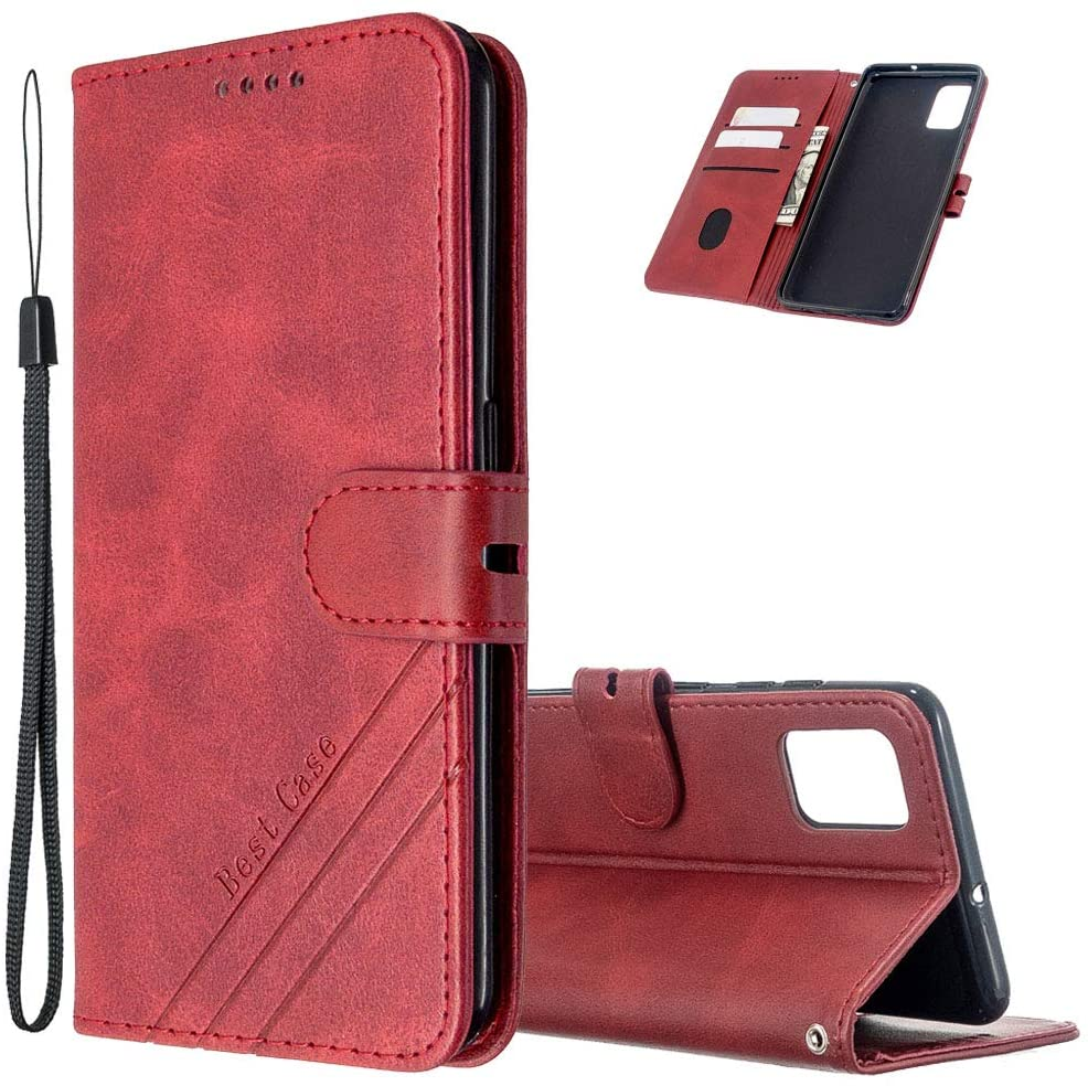 Asdsinfor Galaxy A71 5G Case Stylish Advanced PU Leather Durable Wallet Case Credit Cards Slot with Stand for Shockproof Flip Magnetic Case for Samsung Galaxy A71 5G Red HXPU