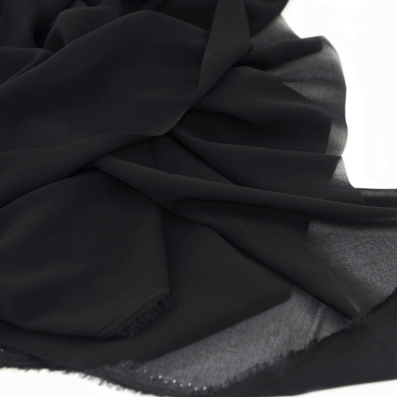"Chiffon Fabric Polyestser Sheer for Bridal Decoration 59""(1 Yard,Black)"