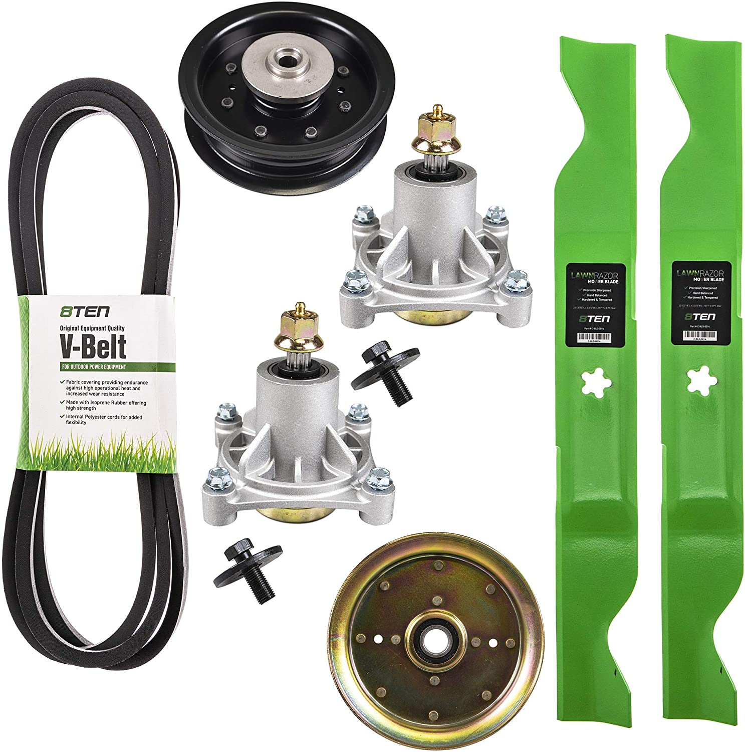 8TEN Blade Spindle Belt Idler Rebuild Kit for Husqvarna 46 Inch Deck RZ4621 RZ4623 532403107 532174358 532405380 196104