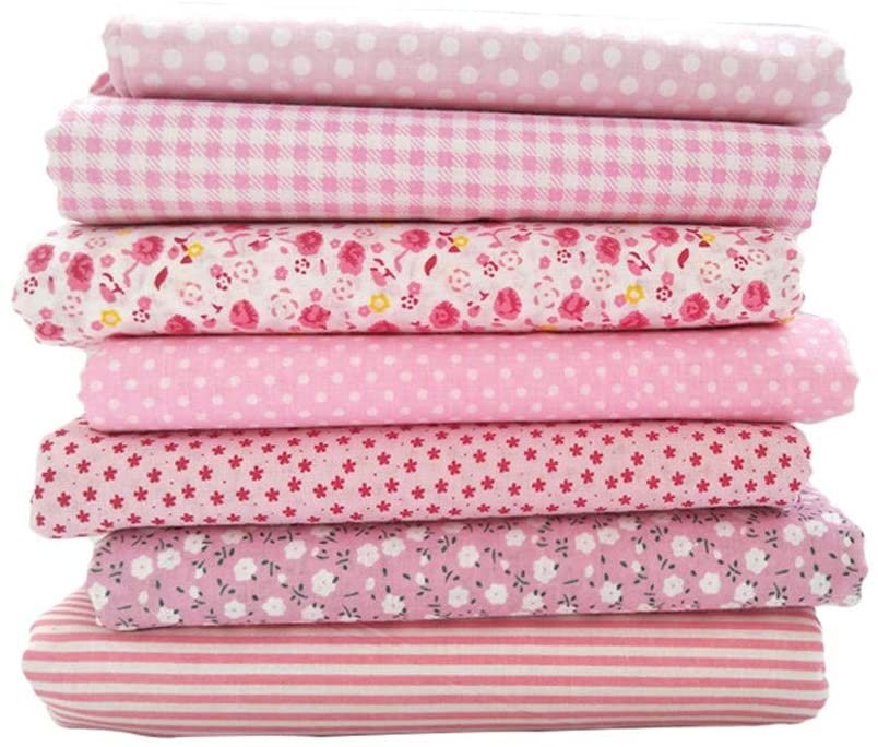 SWECOMZE 7pcs 50 x 50cm NO Repeat Design Printed Floral Cotton Fabric Suitable for Stitching, Sewing Paper Towels to Stitching (Pink 2)