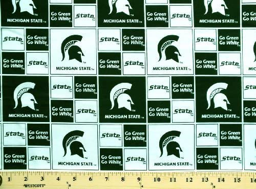 Cotton College Michigan State University Spartans 020 Print Cotton Fabric By the Yard by Fields Fabrics