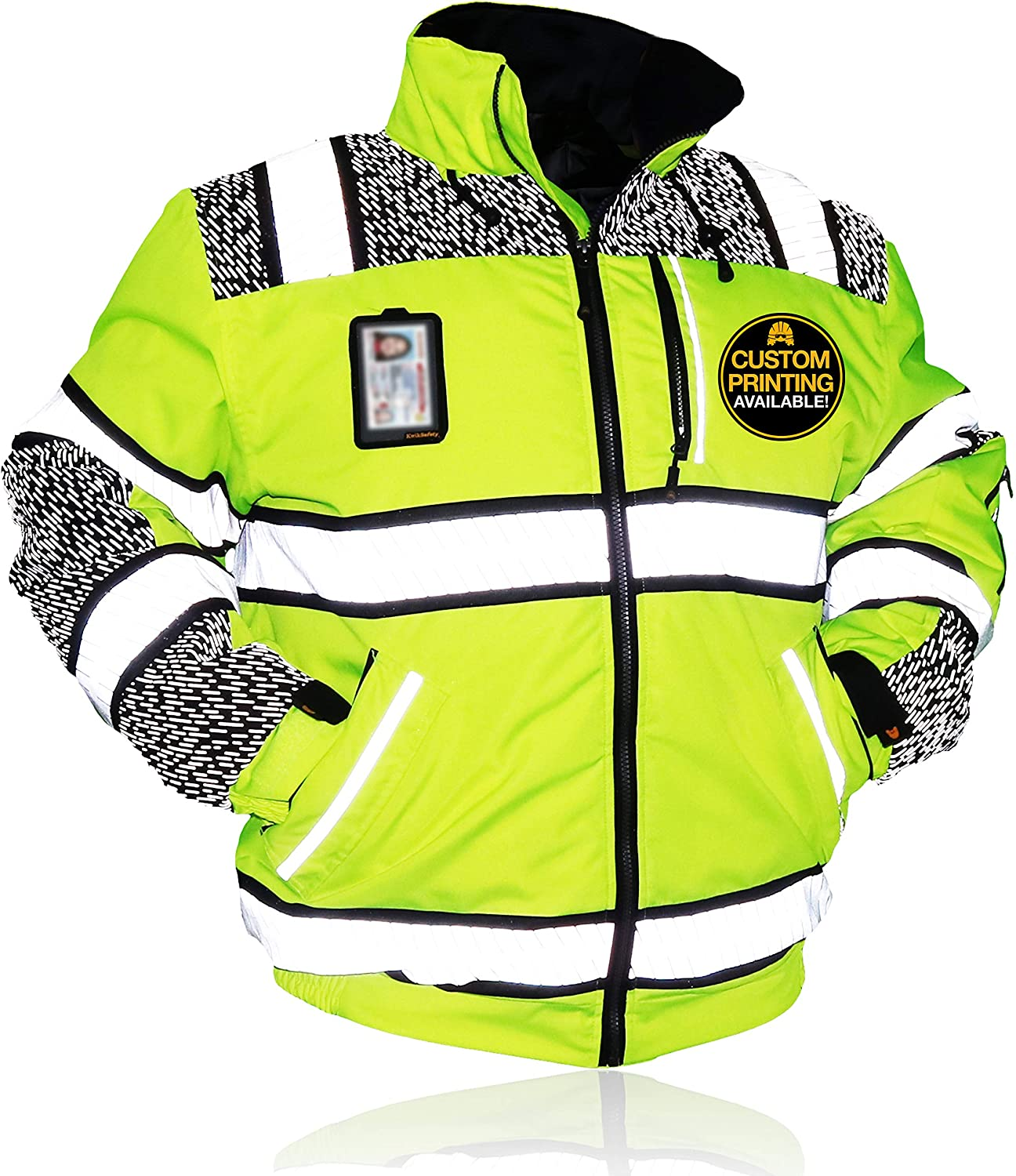 KwikSafety (Charlotte, NC) UNIVERSE Class 3 Safety Bomber Jacket High Visibility ANSI Compliant OSHA Detachable Chest iPocket Foldable Hoodie Thermal Lining Construction Work Wear | X-Large