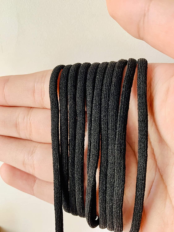 MonicaSun Elastic Mask Strap White Earloop Cord Ear Tie Rope Handmade String for Mask Sewing Heavy Stretch Elastic String for DIY Sewing Crafts Black - 30 Yards