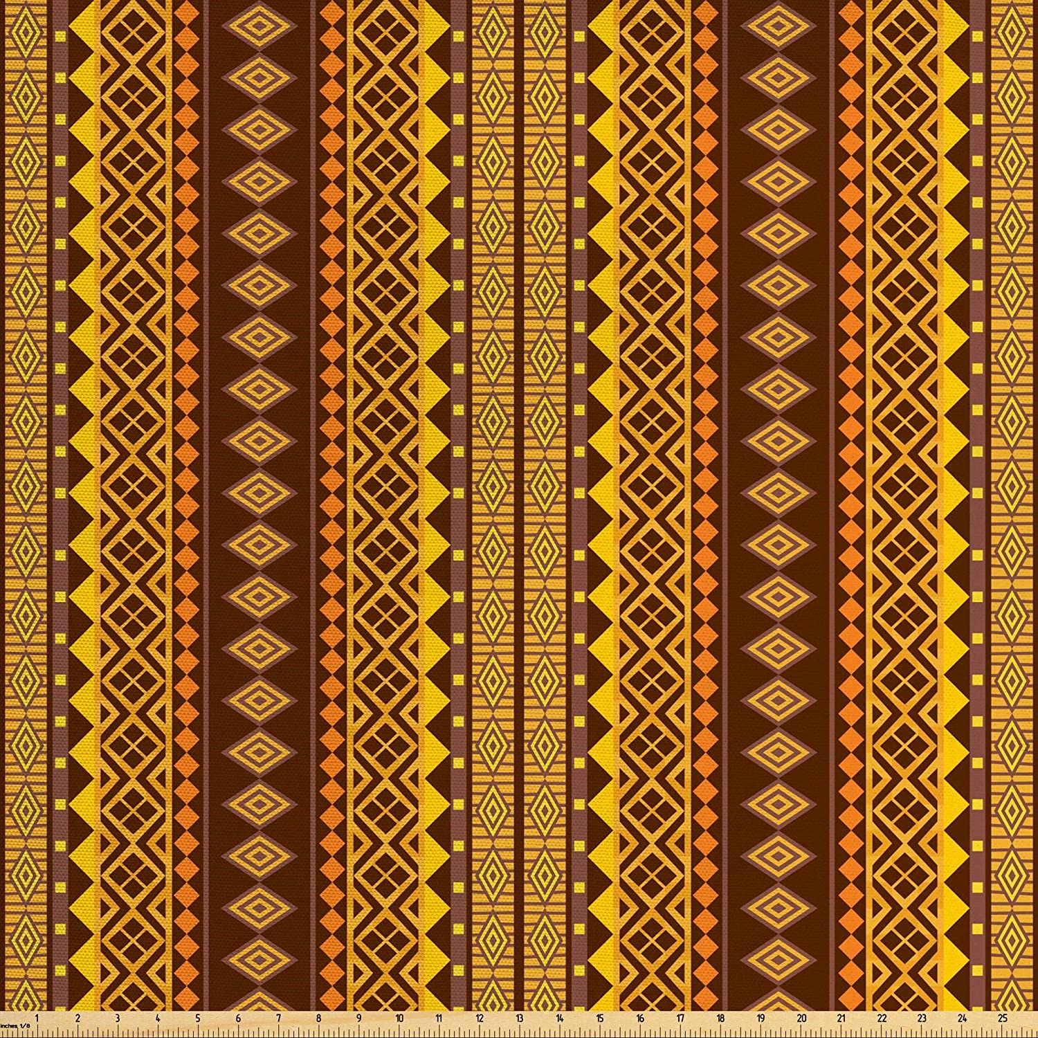 Lunarable Yellow and Brown Fabric by The Yard, Folk Hippie Motifs Triangles Geometric Print, Decorative Fabric for Upholstery and Home Accents, 3 Yards, Chestnut Brown
