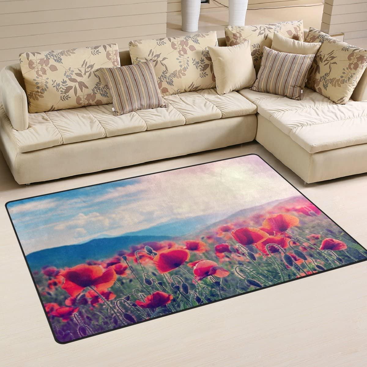 WellLee Area Rug,Sunset Mountain Meadow Poppy Flowers Floor Rug Non-Slip Doormat for Living Dining Dorm Room Bedroom Decor 31x20 Inch