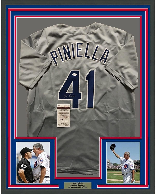 Framed Autographed/Signed Lou Piniella 33x42 Chicago Grey Baseball Jersey JSA COA