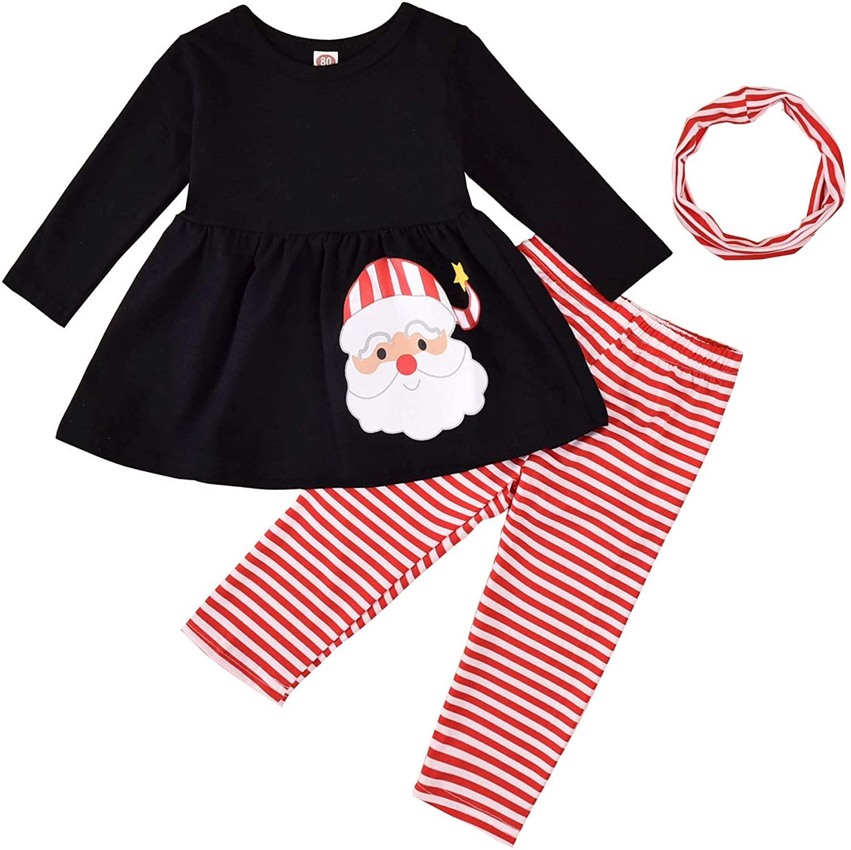 Toddler Baby Girls Christmas Outfits 3 Pcs Infant Santa Pattern Skirt Set+ Headband+Stripe Pants Set