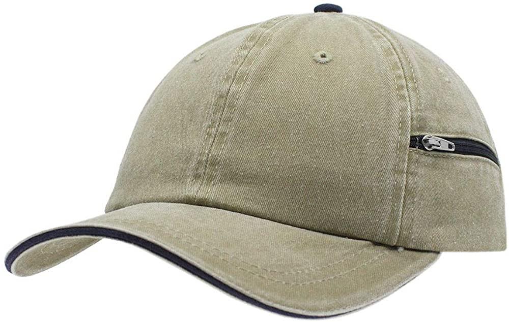 Vintage Year Zipper Pocket Washed Cotton Sandwich Adjustable Baseball Cap