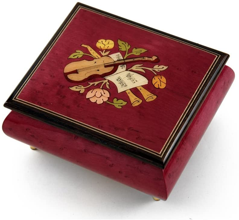 Inspiring Red Wine Music Theme with Violin Wood Inlay Music Box - Many Songs to Choose - Carousel Waltz