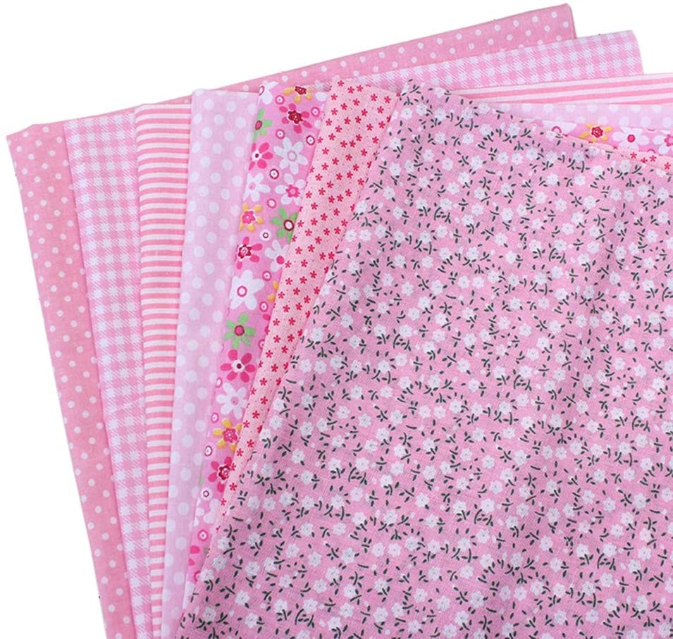 TJK 7pcs Quilting Fabric- Fat Quarters Fabric Bundles- 100% Cotton Fabric for Sewing Crafting,Print Floral Striped Polka Dot Gingham Fabric 10x10inch