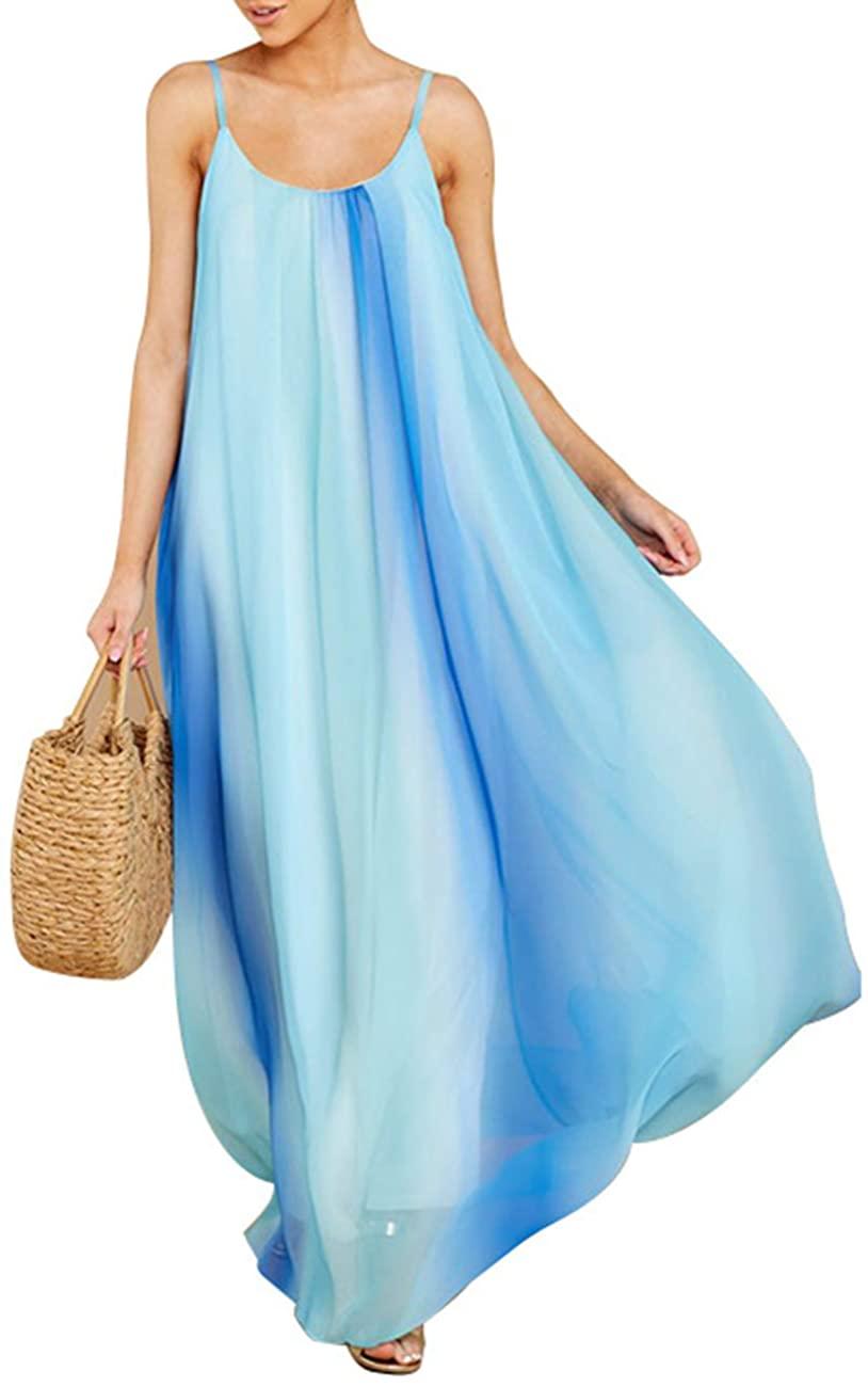 Rela Bota Women's Casual Loose Boho Beach Party Chiffon Pocket Long Maxi Dress Blue L