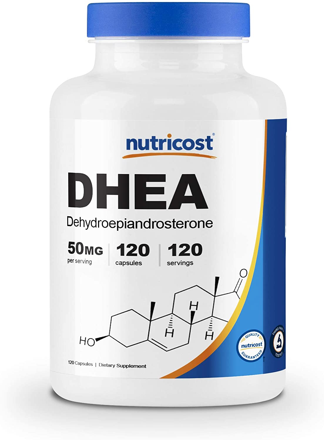 Nutricost DHEA 50mg, 120 Capsules - Gluten Free, Soy Free, Non-GMO, Supplement