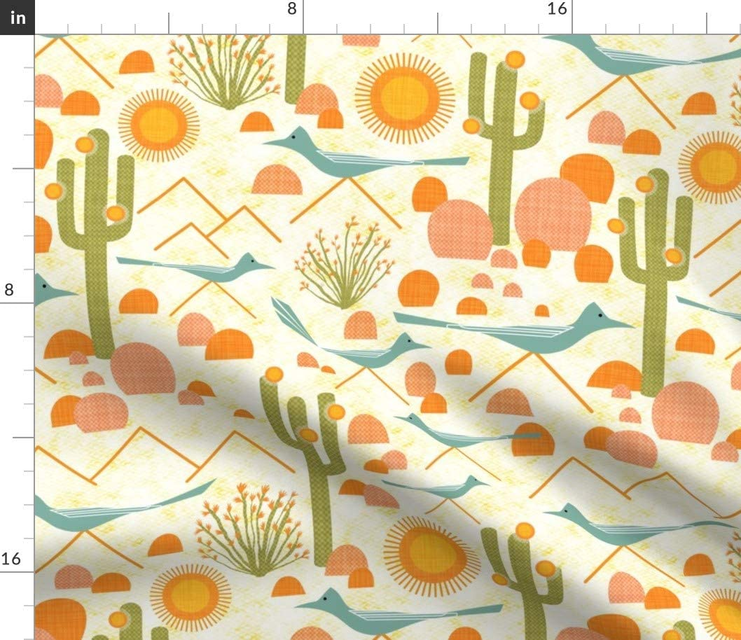 Spoonflower Fabric - Southwestern Bird Mid Century Modern Desert Sun Cactus Printed on Cotton Poplin Fabric by The Yard - Sewing Shirting Quilting Dresses Apparel Crafts