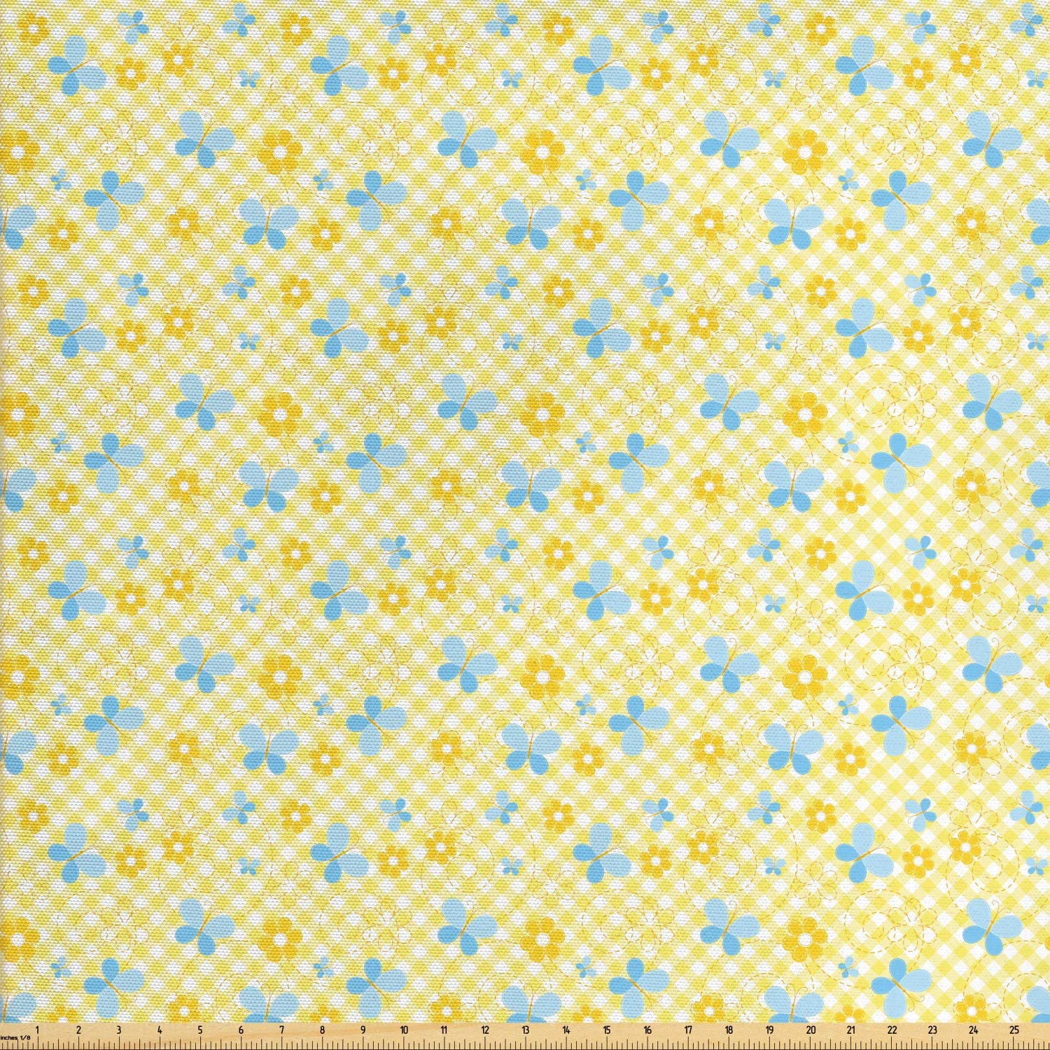 Ambesonne Checkered Fabric by The Yard, Kids Pattern with Daisy Flower and Butterflies, Decorative Fabric for Upholstery and Home Accents, 3 Yards, Baby Blue