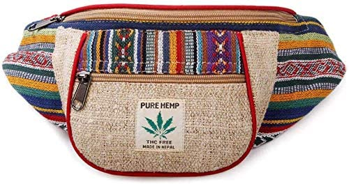 Handmade Hemp Festival Waistpack Boho Hippie Waist Bag Hip Bum Running Belt Fanny Pack ~ Multi Color Stripe
