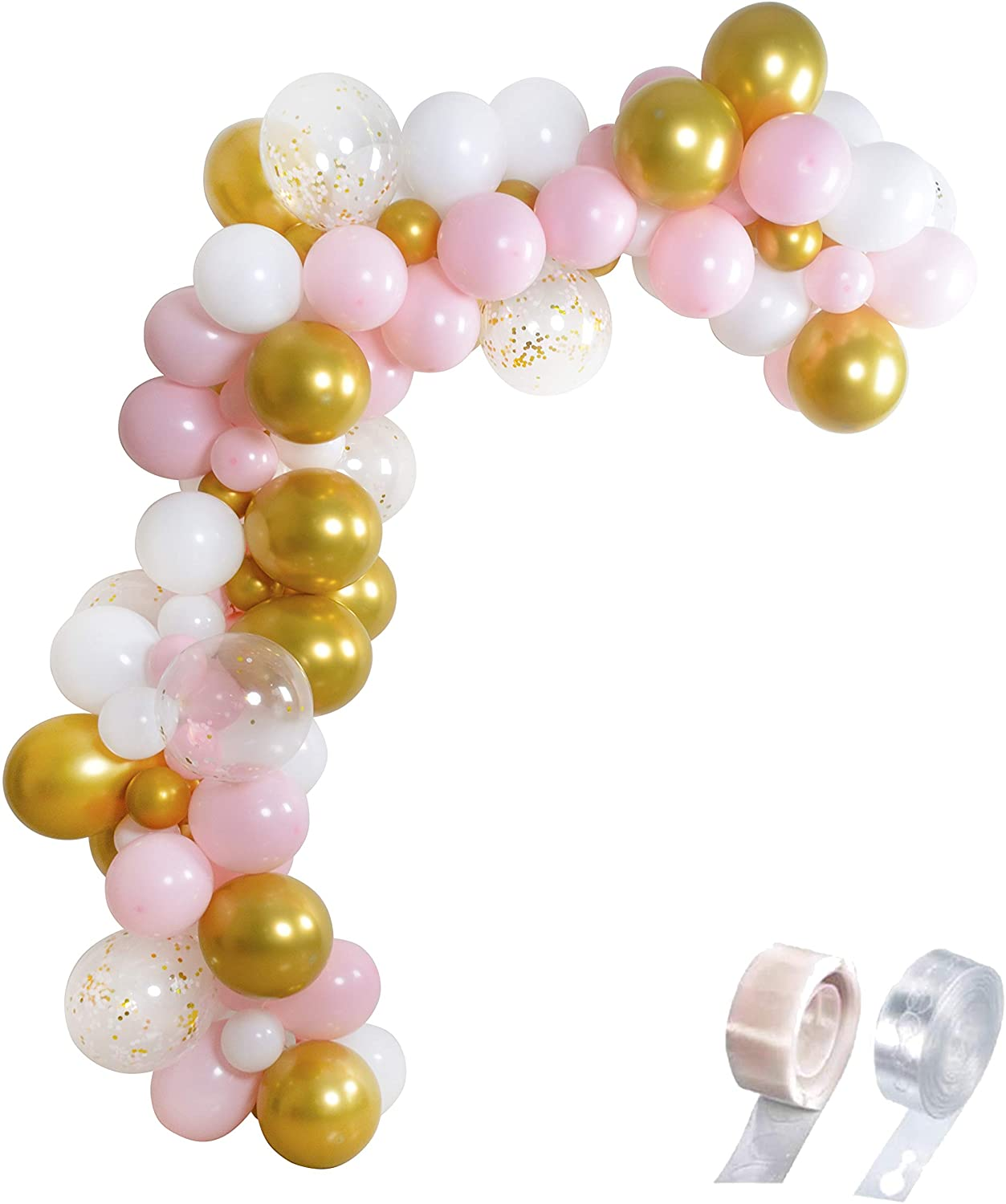 MOWO Balloon Arch Kit Gold Pink and White Balloon Garland DIY for Birthday Wedding Baby Shower Team Bride Valentine's Day New Year's Party Decoration,112pc