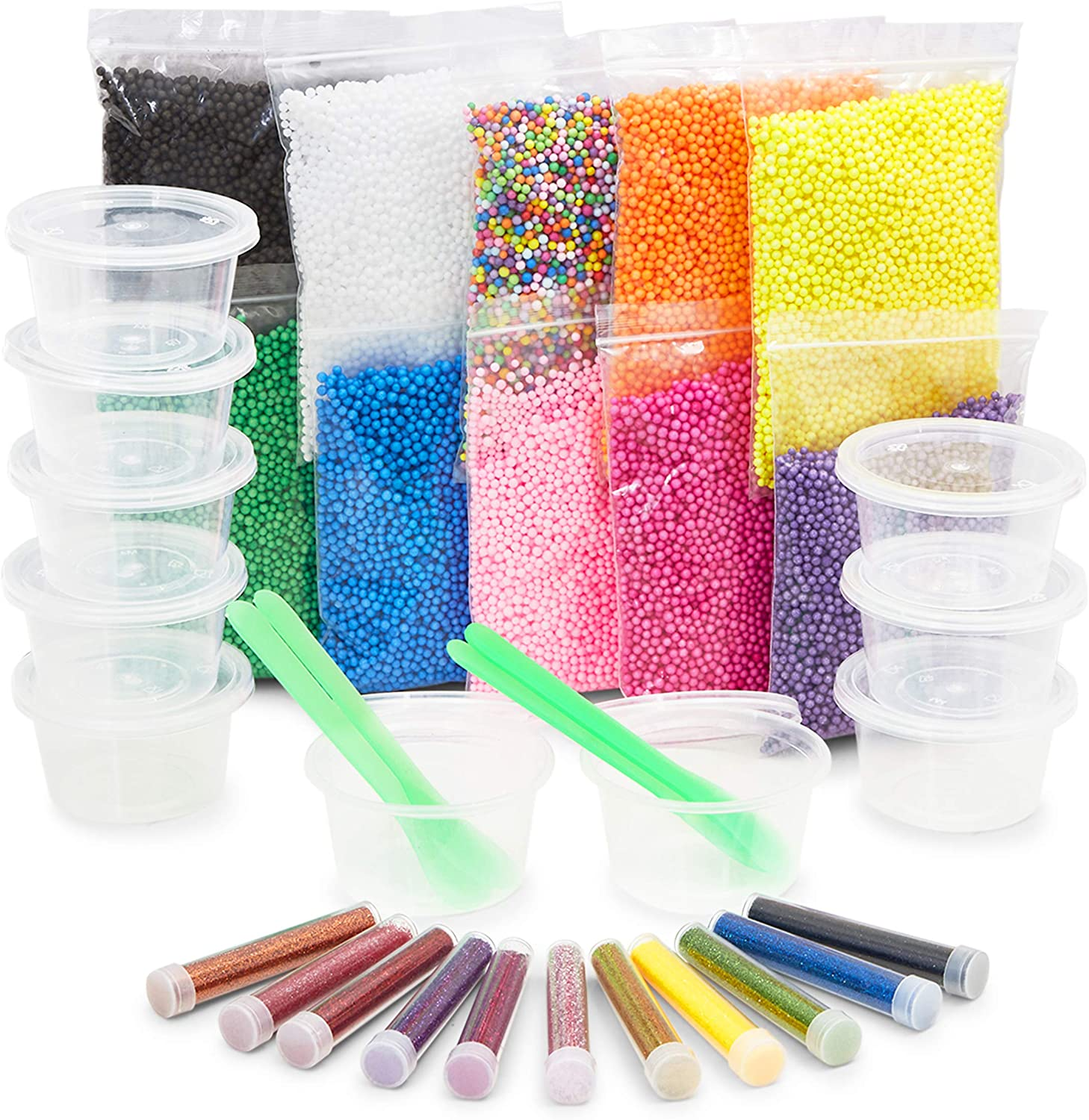 DIY Slime Making Kit with Foam Balls, Glitter Powder, Containers (35 Piece Set)