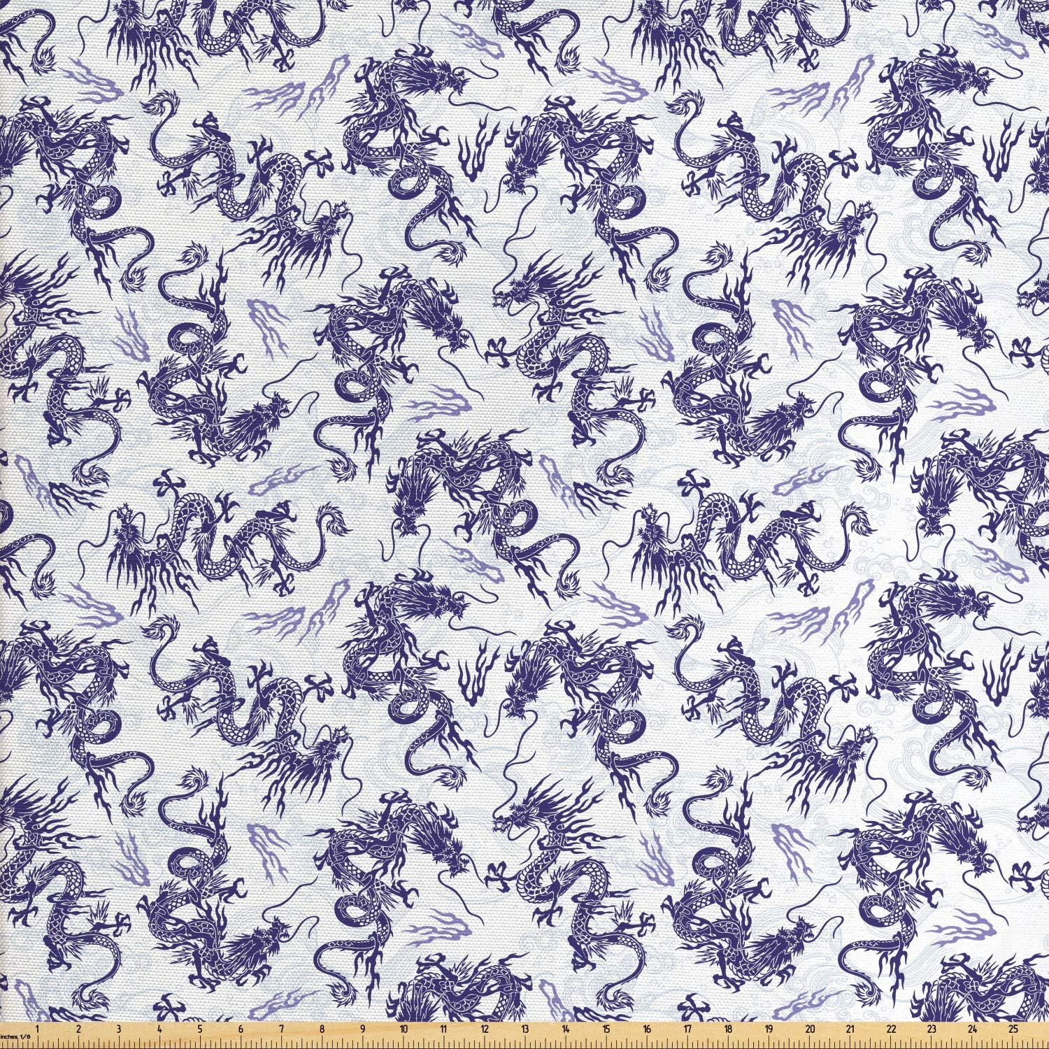 Lunarable Dragon Fabric by The Yard, Japanese Dragon Illustration Head Covered in Fire Ferocious Oriental Pattern, Decorative Fabric for Upholstery and Home Accents, 1 Yard, White Purple