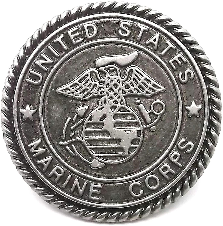 Conchos for Belt - Leather Fastener - Marines Emblem Antique Nickel Button Snap Set 1