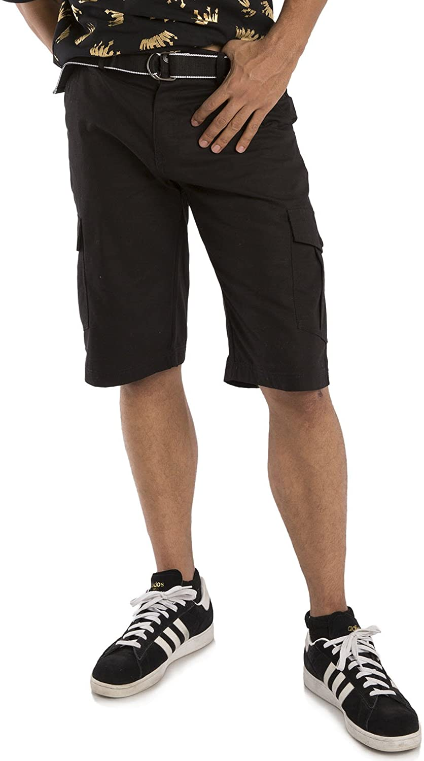 Vibes Mens Cotton Canvas Cargo Shorts with Matching Belt 13 Length