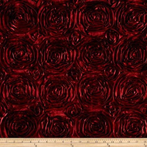AK Trading 54-Inch Wide Premium Satin Rosette 3D Rose Design Ribbon Fabric (Burgundy, 1 Yard)