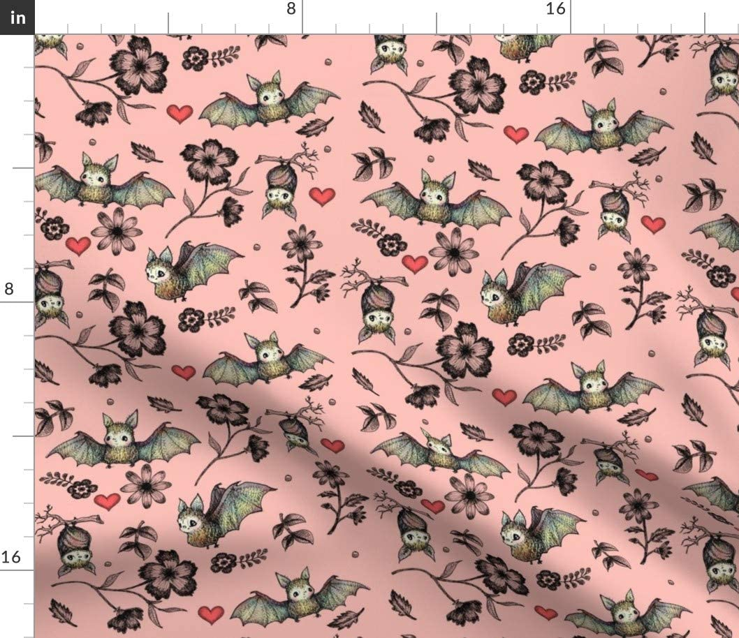 Spoonflower Fabric - Bats Hearts Pink Bat Flowers Halloween Wildlife Floral Nature Red Printed on Cotton Poplin Fabric by The Yard - Sewing Shirting Quilting Dresses Apparel Crafts