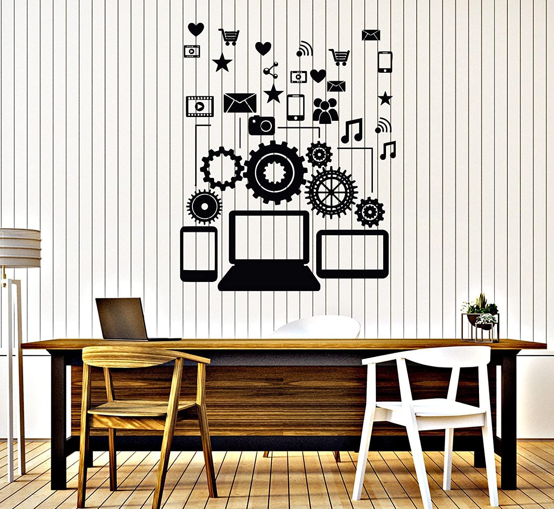DesignToRefine Vinyl Wall Decal Social Network Communication Gadgets Stickers (313ig) Black